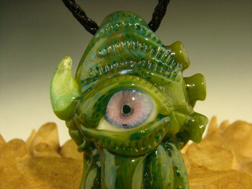 Glass 'Eye of the Squid' Pendant Boro focal bead Cthulhu inspired necklace Art Totem VGW Mazet Green