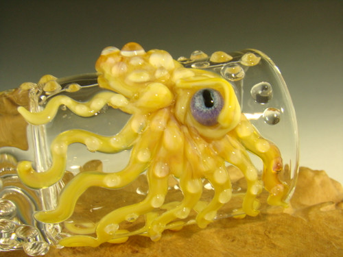 Hand blown Glass Octopus Shot Glass By Mazet