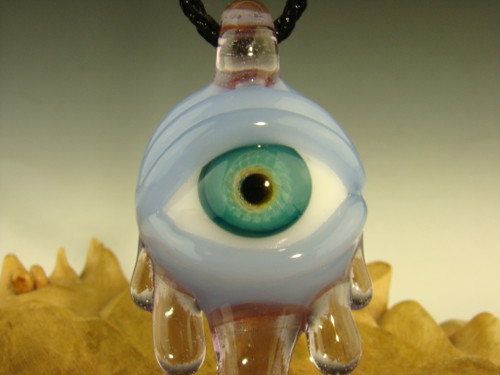 Glass 'Eye of Compassion' with an Opal Pendant Necklace by Kenny Talamas