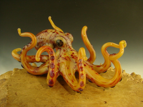 Glass octopus sculpture figurine by chris upp