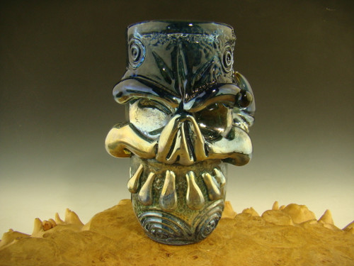 Hand blown Horny Skull Blue Shot Glass Flameworked Art by Eli Mazet