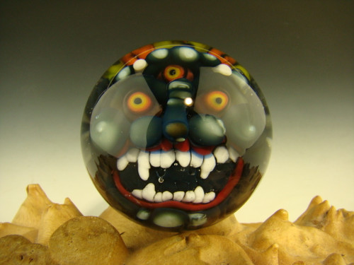 Art Glass Goblin Deity Marble Gray by Kaleb Folck