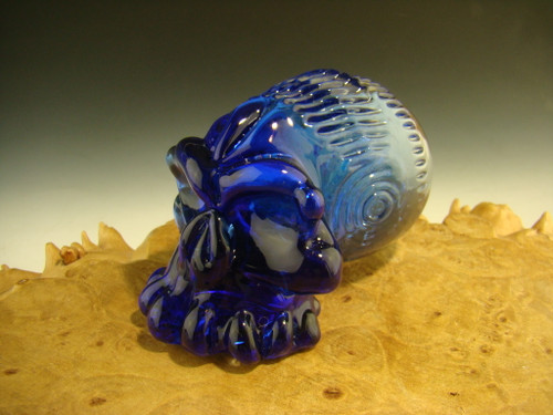 Glass Skull sculpture figurine with Dichroic Galaxy Marble by Eli Mazet