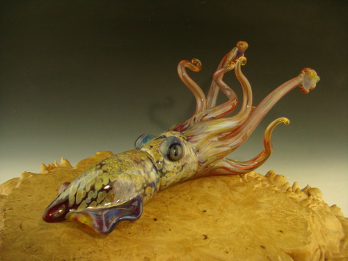 Glass Squid sculpture figurine by Chris Upp