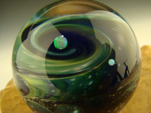 Glass Space Scene Universe Marble with Opals by Kenny Talamas