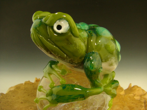Frog on a Dichroic galaxy marble Sculpture figurine Statue By Mazet