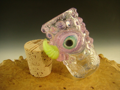 Blown glass stash Jar with eye by Mazet