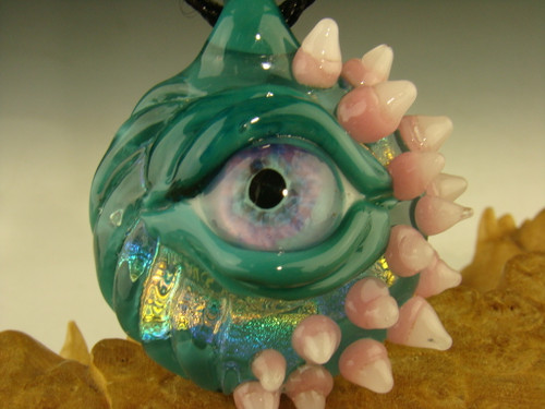 Glass Eye with fangs pendant Dichroic necklace by Eli Mazet