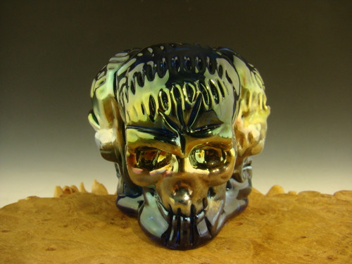 Glass 3 Skull marble stand Orb holder By Mazet