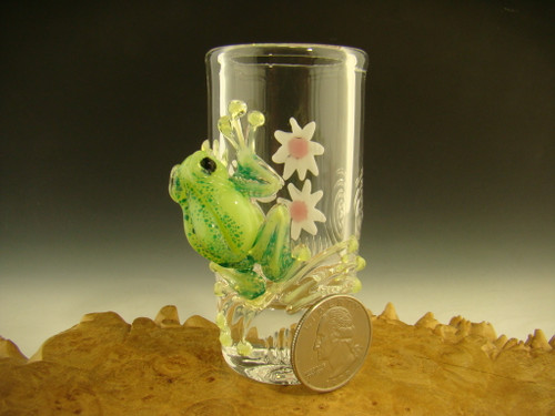 Green frog with flowers shot glass by Mazet