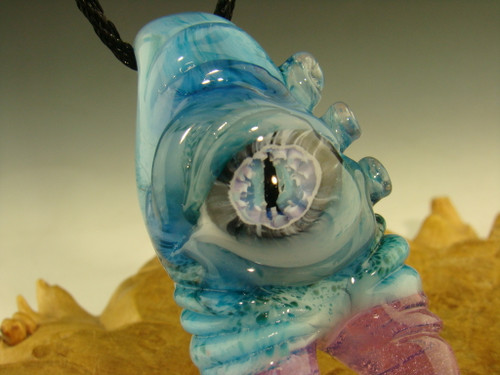 Glass Warlock Pendant Creature eye Focal Bead Necklace by Mazet