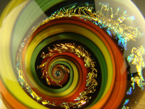 2 inch Dichroic Glass Vortex Marble Orb by Tim Mazet