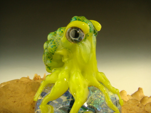 Glass Octopus Chillin on a dichroic dome paperweight Sculpture By Mazet
