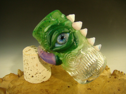 Hand blown Glass Eye Jar with fangs Flameworked by Eli Mazet