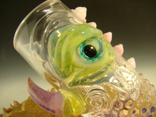 Hand blown Horny Eye Shot Glass with fangs by Mazet