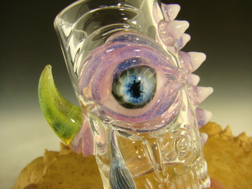 Hand blown Horny Eye of compassion Shot Glass by Mazet