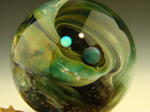 Fumed Space Marble with Opals by Kenny Talamas