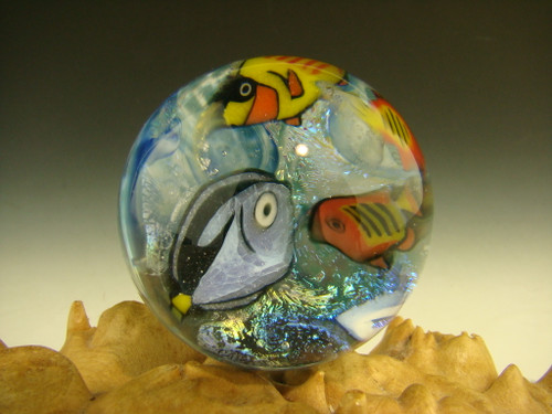 Coral Reef Dichroic Glass Marble by Betty Wolf