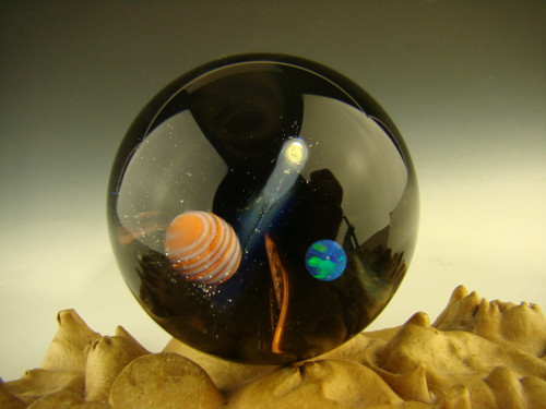 Space sceane universe marble with opal and planets by Kimmo