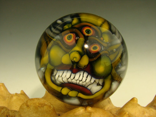 Art Glass Third eye Goblin Marble Collectible Orb Sphere Monster Face Kaleb Folck