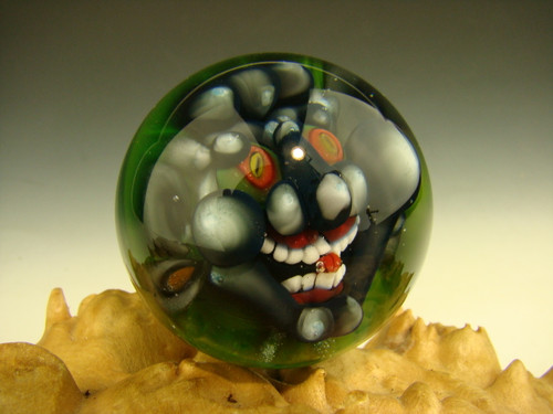Art Glass Grey Goblin Marble Collectible Orb Sphere Monster Face Kaleb Folck