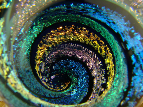 Full Dichroic Glass Vortex Illusion Marble Fibonacci Spiral by Tim Mazet VGW