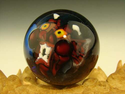 Art Glass Red Devil Marble