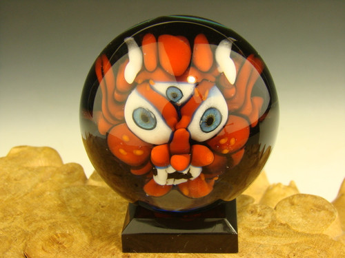 Art Glass Third Eye Goblin Deity Marble Red by Kaleb Folck