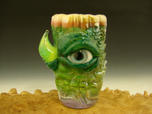 Hand blown Horny Shot Glass Teeth Green Blue Flameworked Art Freaky Monster eye teeth Mazet