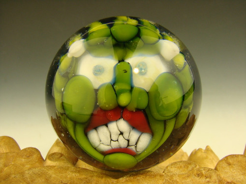 Art Glass Goblin Deity Marble Green Collectible Oddity 3D Orb Sphere Monster Kaleb Folck