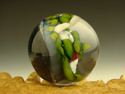 Art Glass Goblin Deity Marble Green Collectible Oddity 3D Orb Sphere  Monster Kaleb Folck (ready to ship)