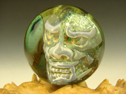 Phantom Japanese Oni Glass Art Marble by 3/D Orb Demon monster by Elly