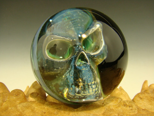 Phantom Skull Glass Art Fumed Marble Elly 3/D Orb Silver Boro-sphere