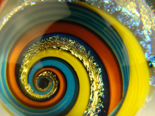 Dichroic Glass Vortex Marble Orb Rainbow, Aqua,Orange and Yellow optical Illusion Fibonacci Spiral by Tim Mazet