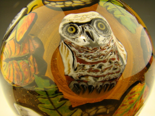 Huge Sugar Skull & Owl Glass Art Marble