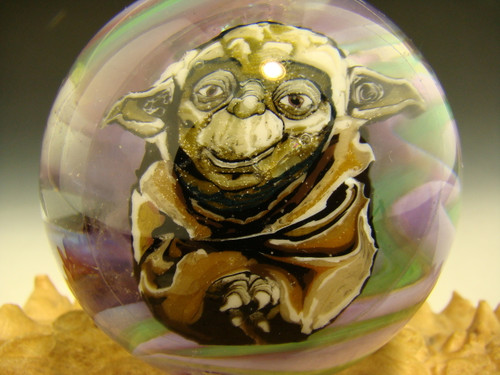 Yoda Star Wars inspired Glass Art Marble