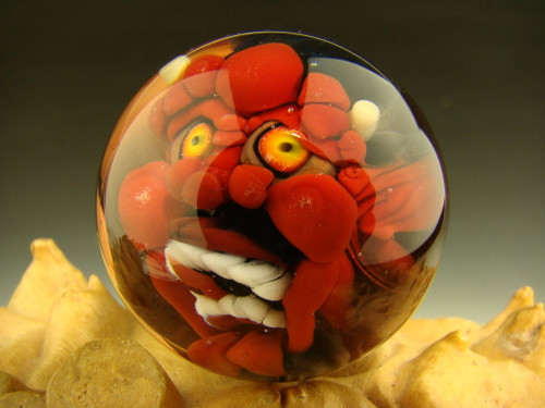 Red Devil Glass Marble by Kaleb Folck