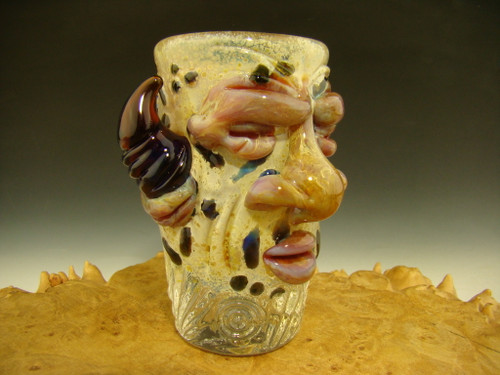 tribal face shot glass by Eli Mazet
