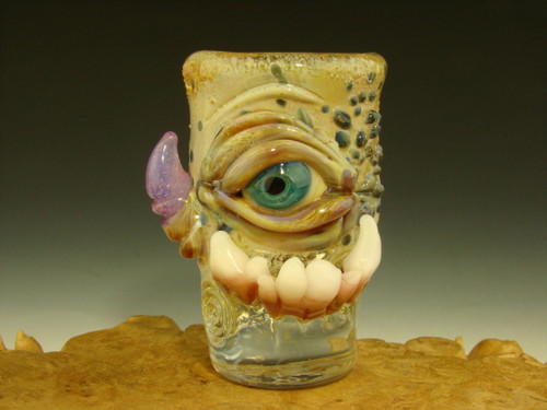 Hand blown Shot Glass Horny Eye with Teeth by Eli Mazet