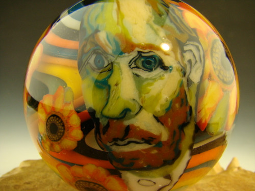 Large Vincent van Gogh inspired Glass Art Marble by Boheme
