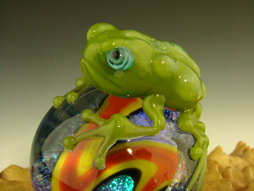 Frog on a Vortex Marble Sculpture by Eli Mazet