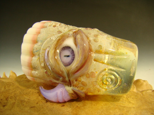 Hand blown Horny Eye with Teeth Shot Glass by Mazet
