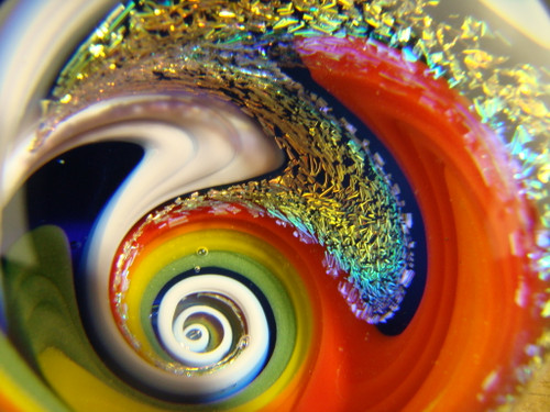 Dichroic Glass Vortex Marble by Mazet