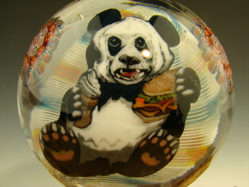 Large Glass art Marble 'Hungry Panda' by Steve Boehme