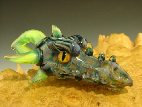 Glass Dragon Head Pendant Focal Bead By Kenny Talamas