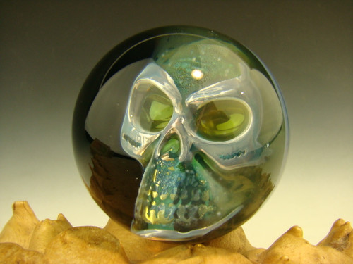 Phantom Skull Glass Art Fumed Marble By Elly