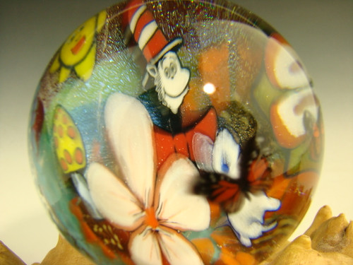 "1.7"" Glass Marble murrini 'Cat in the Hat in the Garden' by Betty Wolfe"