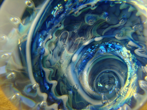 "2"" Dichroic Glass Vortex Marble Ocean Wave Air trap by Mazet"