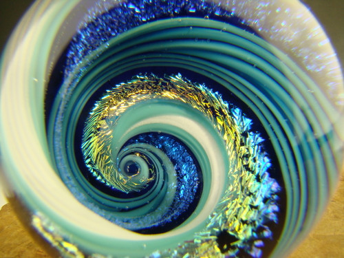 Dichroic Glass Vortex Marble Orb by Tim Mazet