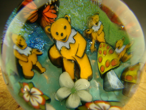 Glass Marble Murrine Dancing Bears Grateful Dead Murrini By Betty Wolfe